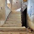 Vintage staircase and dirty floor -  