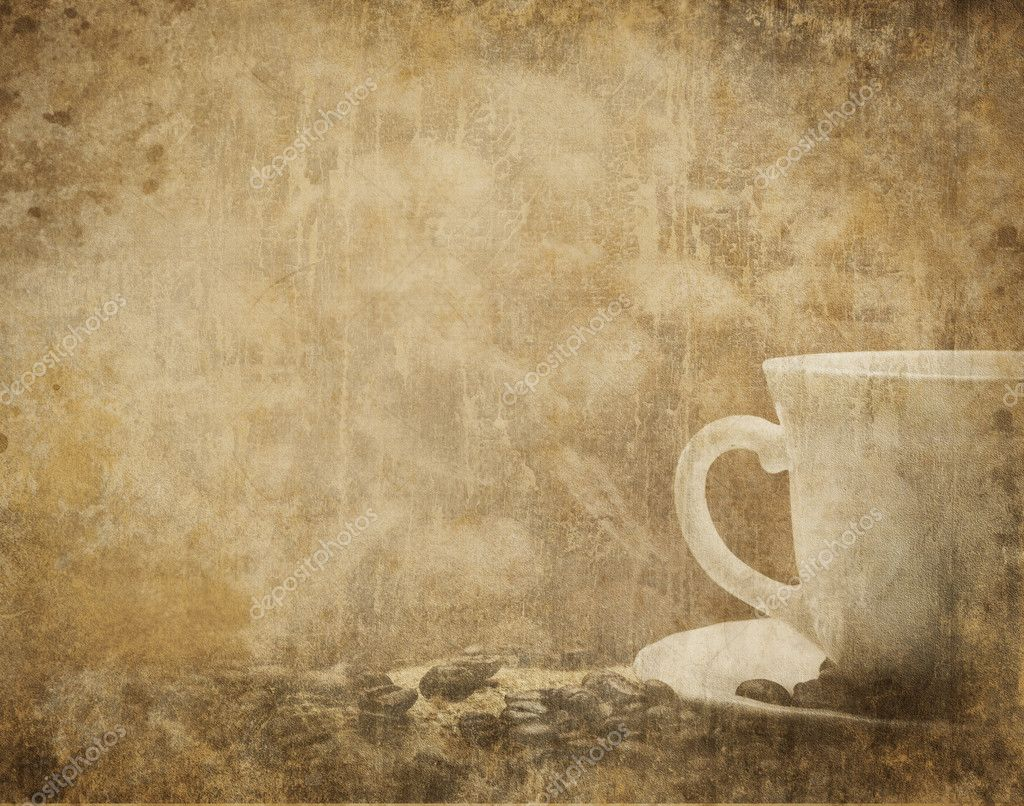 Vintage coffee background with coffee cup and coffee beans  Stock Photo #7303710