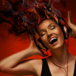 Girl with headphones - Foto Stock