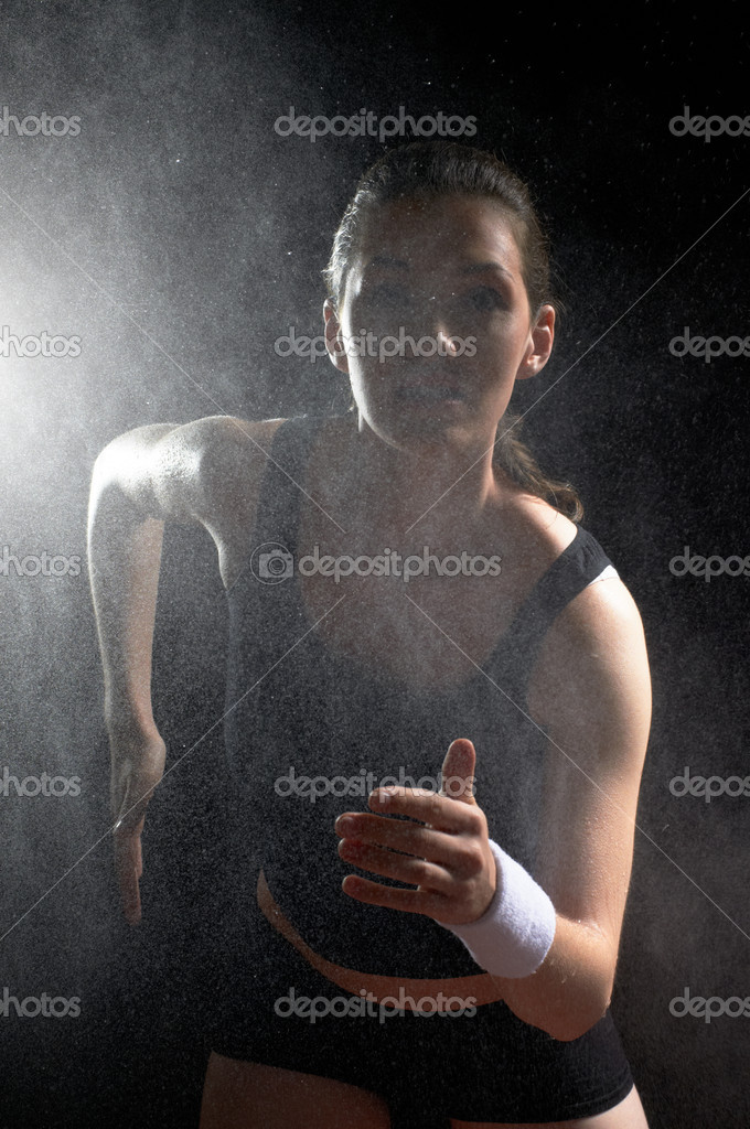 Girl in sport on the night — Stock Photo #7124558