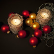 Two candles with christmas-tree decoration — Stock Photo