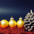 Christmas card with gold balls and candles — ストック写真