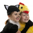 Two girls play in fancy dress of a chicken and cat. Isolated whi — Stock Photo