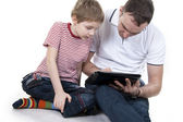 Father and son with the computer. — Stock Photo
