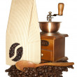 Paper bag with coffee beans — Stockfoto