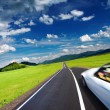 Sports car in motion blur - Stock Photo