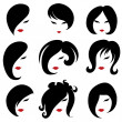 Big set of black hair styling for woman — Stock Vector