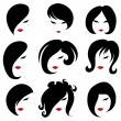 Stock Vector: Big set of black hair styling for woman