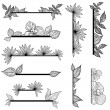 Vector set of vintage design elements with leafs - Stock Vector