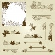 Stock Vector: Vector set of vintage design elements with leafs