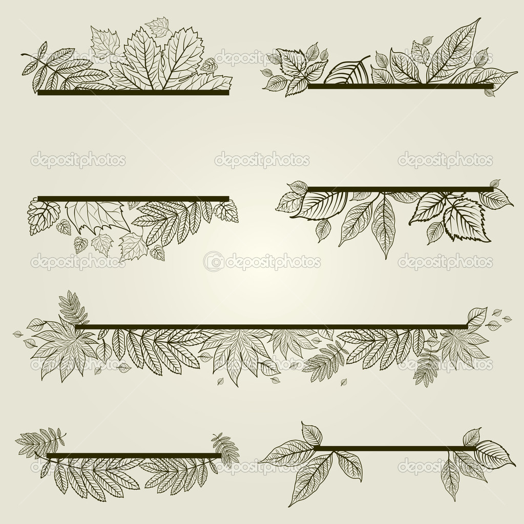 Vector set of vintage design elements with leafs (from my big Floral collection)  Stock Vector #7511181