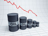 Fall down oil barrel — Stock Photo