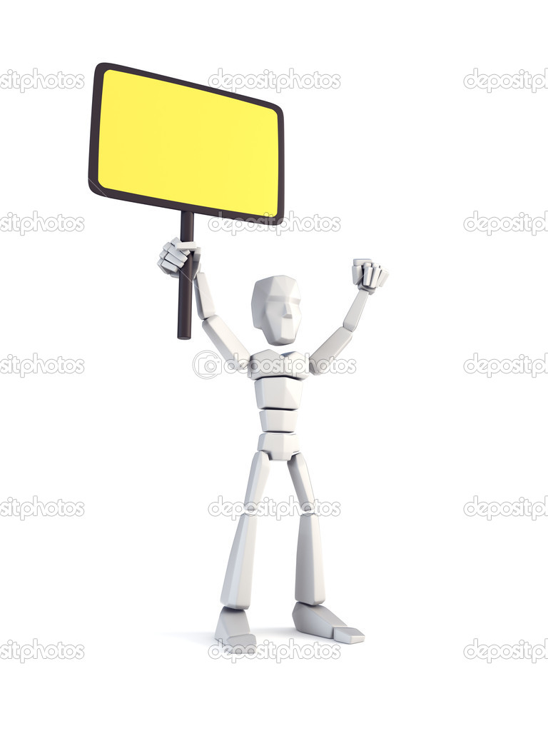 Strike of worker holding placard, 3d rendering — Stock Photo #6747201