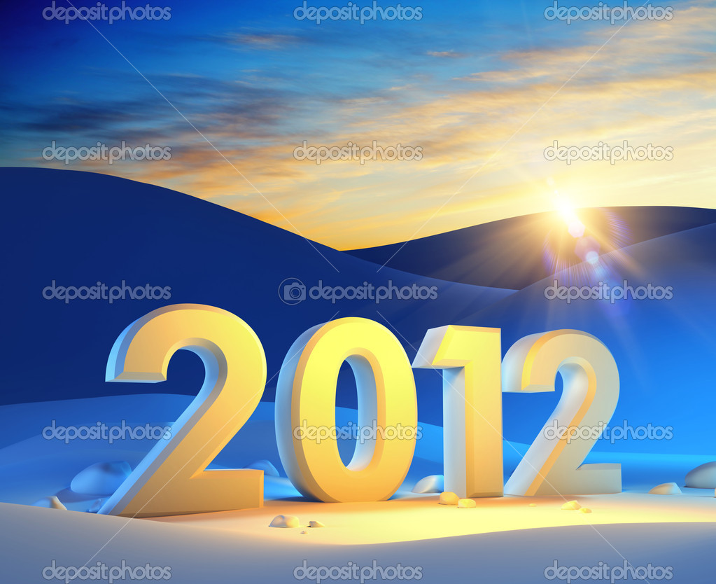 New year 2012, 3d render — 图库照片 #7631883