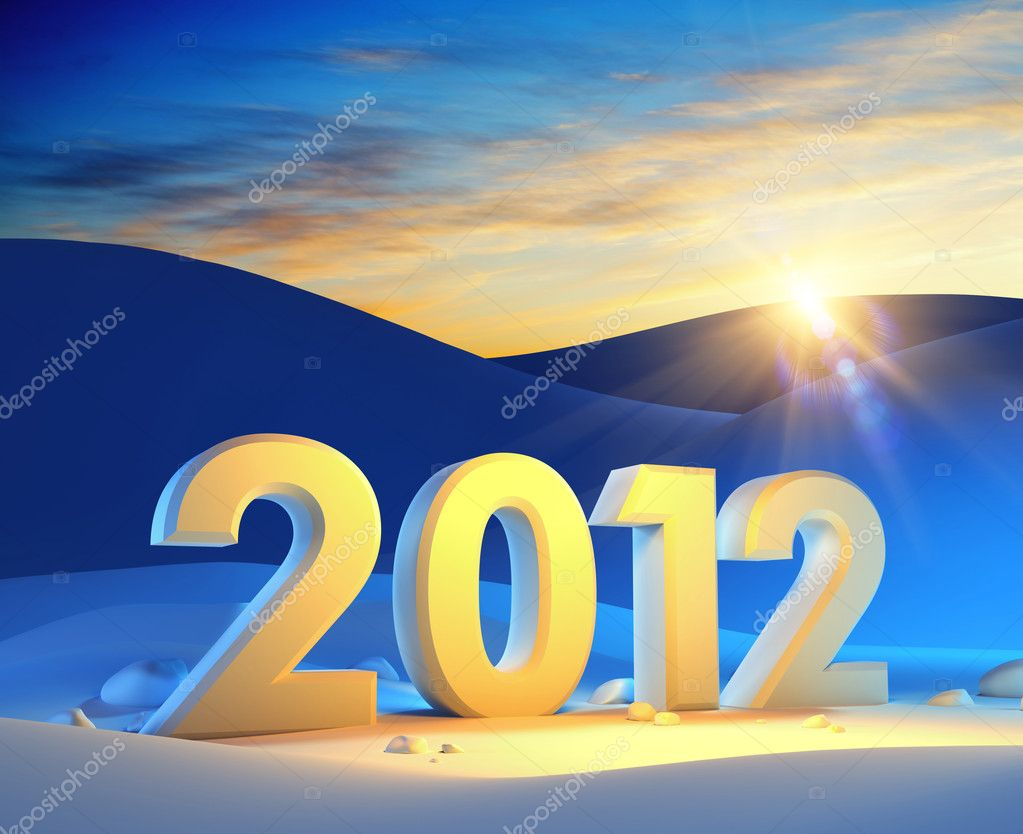 New year 2012, 3d render — Stockfoto #7631883