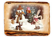 Snowman and a rabbit, a picture in retro style — Stock Photo