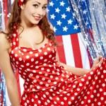 Sexy Patriotic American Girl — Stock Photo