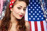 Sexy Patriotic American Girl — Photo