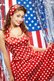 Sexy Patriotic American Girl — Stockfoto