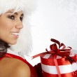 Christmas woman with gifts box — Stock Photo #6840352