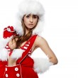 Portrait of beautiful sexy girl wearing santa claus clothes — Stock Photo #6844907