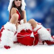 Christmas woman with gifts box — Stock Photo #6845286