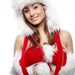 Sexy woman dressed in christmas red dress — Stock Photo