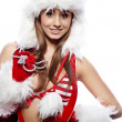 Stock Photo: Sexy woman dressed in christmas red dress