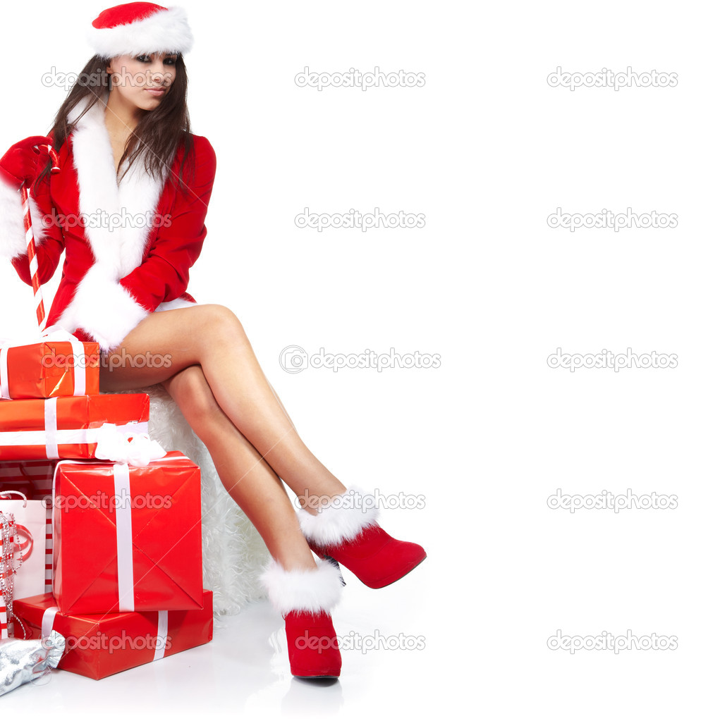 Christmas girl with gifts — Stok fotoğraf #6840226