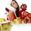 Stock Photo: Portrait of beautiful sexy girl wearing santa claus clothes