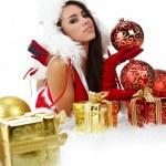 retrato da bela garota sexy vestindo roupa de Papai Noel — Foto Stock