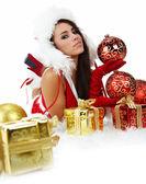 Porträtt av vacker sexig tjej kläder jultomten — Stockfoto