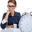 Bored woman at her desk at the end of the day — Stock Photo #6876386