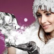 Magic winter woman — Stock Photo