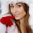 Young christmas woman over silver background — Stock Photo #7225815