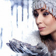 Christmas Girl.Winter woman Blowing Snow — Stock Photo #7226579