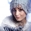 Christmas Girl.Winter woman Blowing Snow — Stock Photo #7226634
