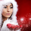 Portrait of beautiful sexy girl wearing santa claus clothes — Stock Photo #7226681