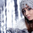Stock Photo: Woman Blowing Snow