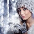 Woman Blowing Snow — Stock Photo #7228876