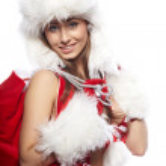Portrait of beautiful sexy girl wearing like santa claus isolate — Stock Photo