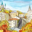Illustration to the autumn old town — Stock Photo