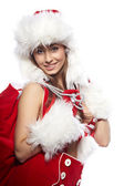 Portrait of beautiful sexy girl wearing like santa claus isolate — Stock Photo