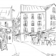 Illustration to the old town - sketch — Stockfoto