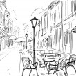 Illustration to the old town - sketch — Stock Photo