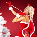 Beautiful sexy girl wearing santa claus clothes — Stock Photo #7355062