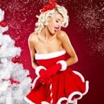 Beautiful sexy girl wearing santa claus clothes — Stock Photo #7411998