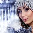 Christmas Girl.Winter woman Blowing Snow — Stock Photo #7412082