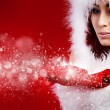 Portrait of beautiful sexy girl wearing santa claus clothes — Stock Photo #7412119