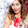Portrait of beautiful sexy girl wearing santa claus clothes — Stok fotoğraf #7437342